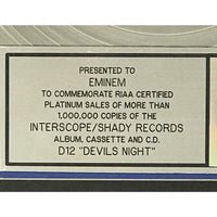 D12 Devil's Night RIAA Platinum Album Award presented to Eminem - RARE - Record Award