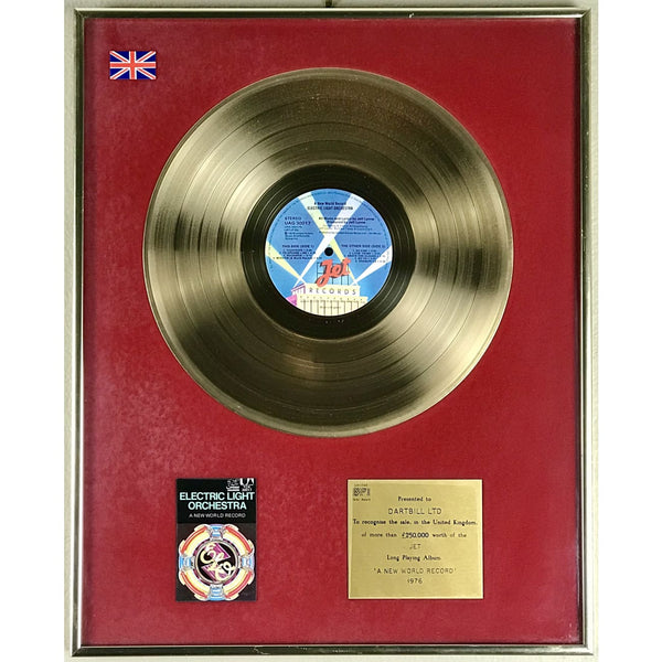 ELO A New World Record BPI Gold LP Award