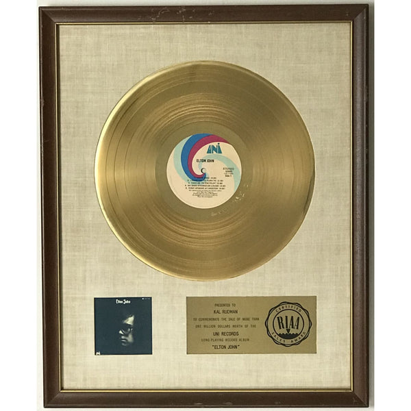 Elton John 1970 debut White Matte RIAA Gold LP Award - RARE - Record Award