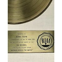 Elton John Madman Across The Water White Matte RIAA Gold LP Award presented to Bernie Taupin- RARE