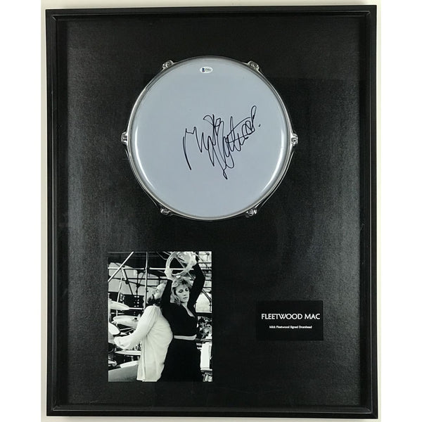 Fleetwood Mac Drumhead Collage Signed by Mick Fleetwood w/BAS COA