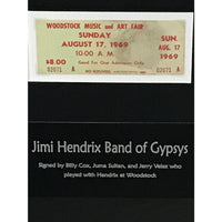 Jimi Hendrix Poster & Ticket Collage signed by Hendrix bandmates w/Epperson LOA