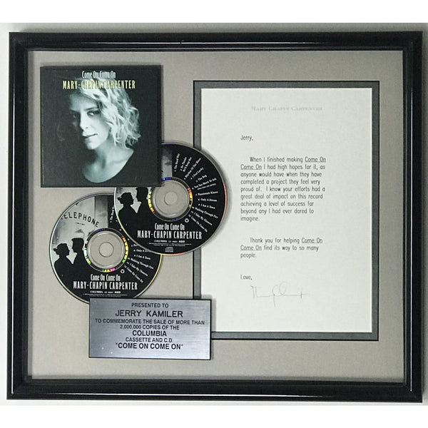 Mary Chapin Carpenter Come On Come On autographed award