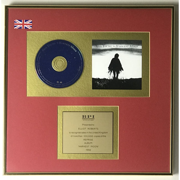 Neil Young Harvest Moon BPI Gold LP Award