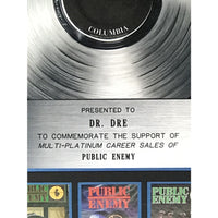 Public Enemy Multi-Platinum Label Award presented to Dr. Dre - RARE