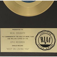 R.E.O. Speedwagon Keep On Lovin' You RIAA 45 Award presented to keyboardist Neal Doughty - RARE