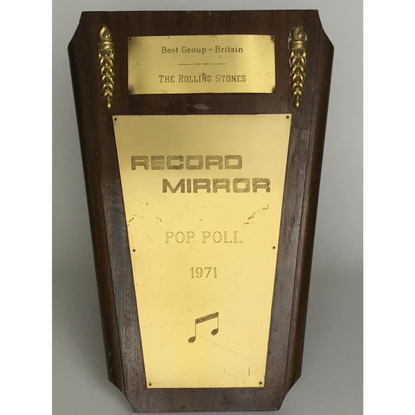 Rolling Stones 1971 UK Record Mirror Award owned by Bill Wyman - RARE - Record Award