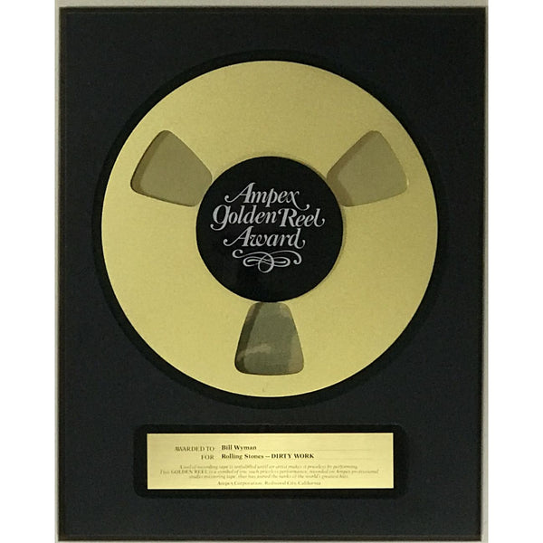 Rolling Stones 1986 Ampex Golden Reel Award for Dirty Work presented to Bill Wyman - RARE - Record Award