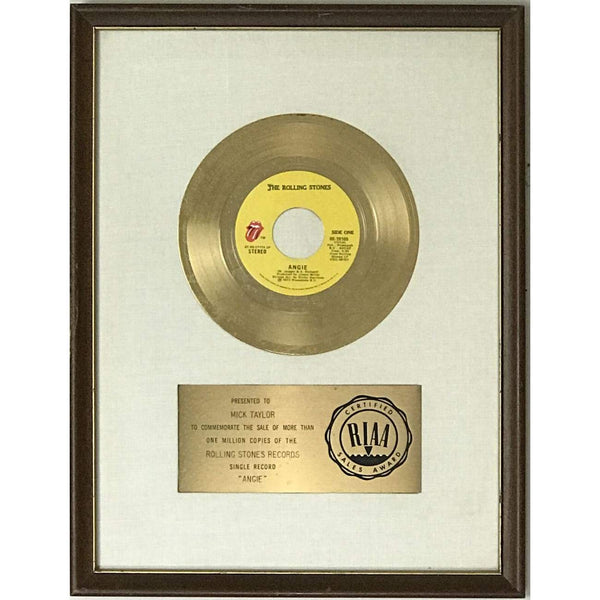 Rolling Stones Angie White Matte RIAA Gold 45 Award presented to Mick Taylor - RARE - Record Award