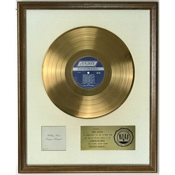 Rolling Stones Beggars Banquet White Matte RIAA Gold Album Award presented to Mick Jagger - RARE - Record Award