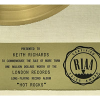 Rolling Stones Hot Rocks White Matte RIAA Gold Album Award presented to Keith Richards - RARE - Record Award