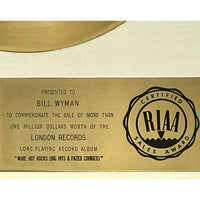 Rolling Stones More Hot Rocks White Matte RIAA Gold Album Award presented to Bill Wyman - RARE - Record Award