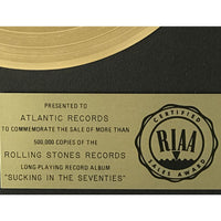 Rolling Stones Sucking In The 70s RIAA Gold LP Award - RARE - Record Award