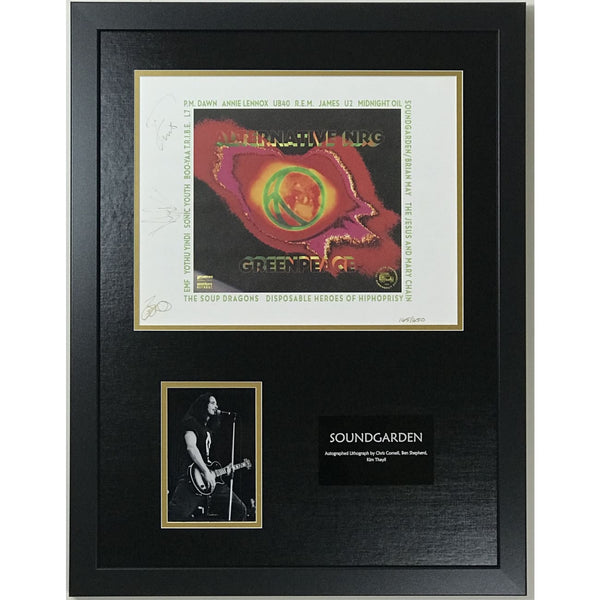 Soundgarden Chris Cornell +2 Autographed Limited Edition Lithograph w/BAS LOA - Music Memorabilia Collage