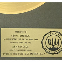 Supertramp Even In The Quietest Moments RIAA Gold LP Award presented to Beatles engineer Geoff Emerick - RARE - Record Award