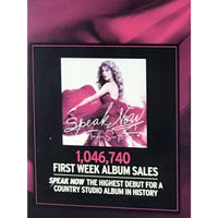Taylor Swift Speak Now RIAA 3x Multi-Platinum Album Award - Record Award