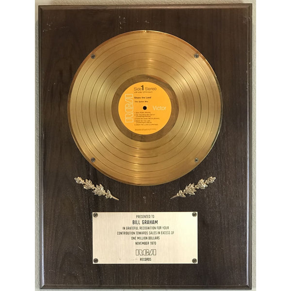 The Guess Who 1970 Label Million Seller Award to Bill Graham