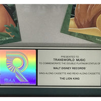 The Lion King soundtrack RIAA 2x Multi-Platinum Album Award