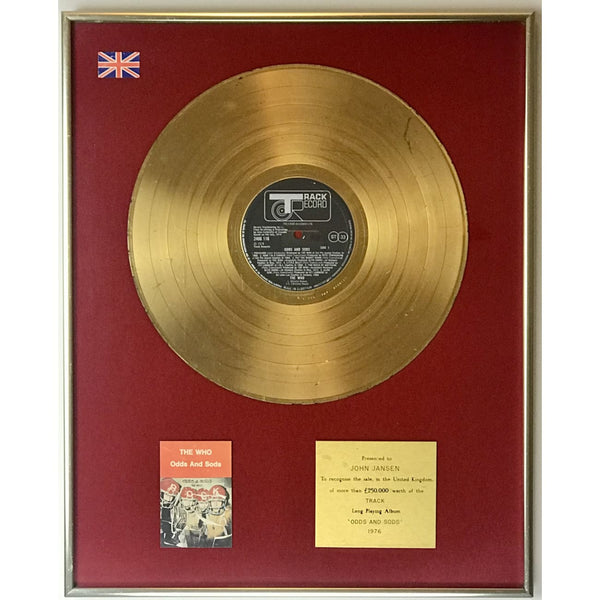 The Who Odds and Sods BPI Gold LP Award - RARE