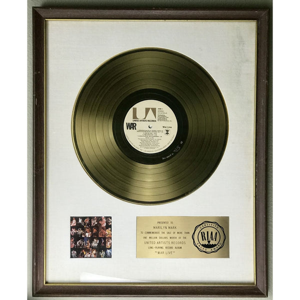 War Live White Matte RIAA Gold LP Award - RARE