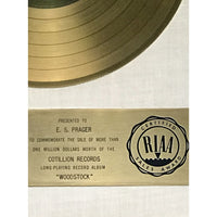 Woodstock Two White Matte RIAA Gold LP Award - RARE