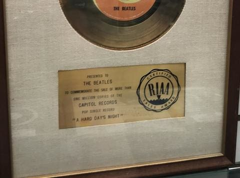 early Beatles white matte RIAA award