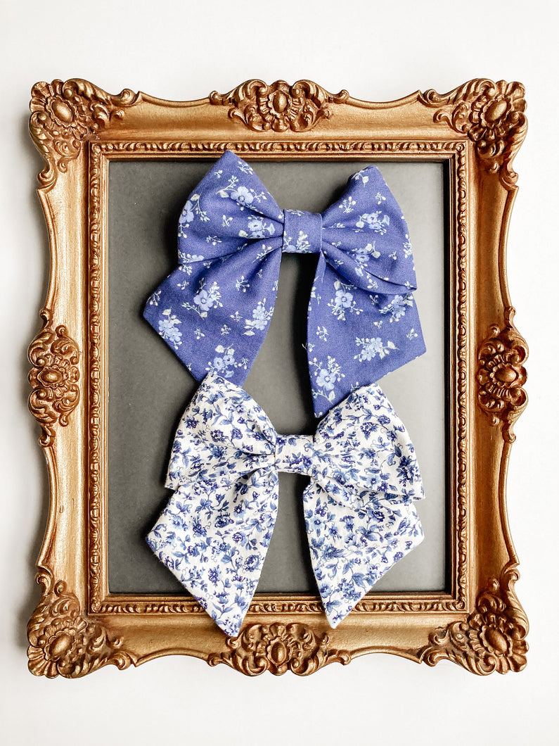 The Julia Blue Floral Sailor Bow