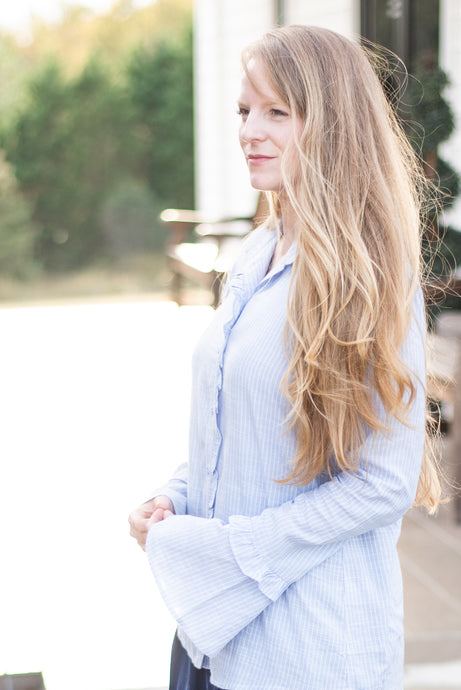 The Elise Blue Stripe Blouse