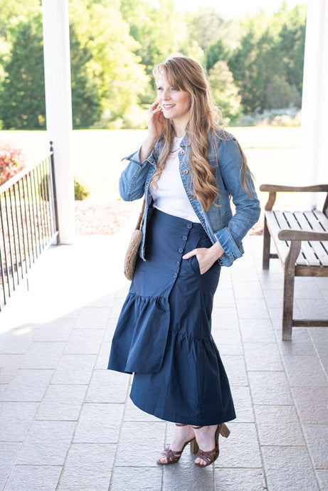 The Ruffle Navy Skirt
