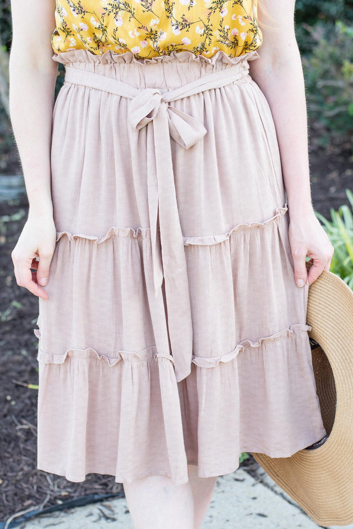 The Latte Tiered Midi Skirt