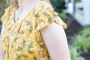 The Delicate Floral Mustard Shirt