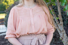Peach Swiss Dot Lace Blouse - Final Sale