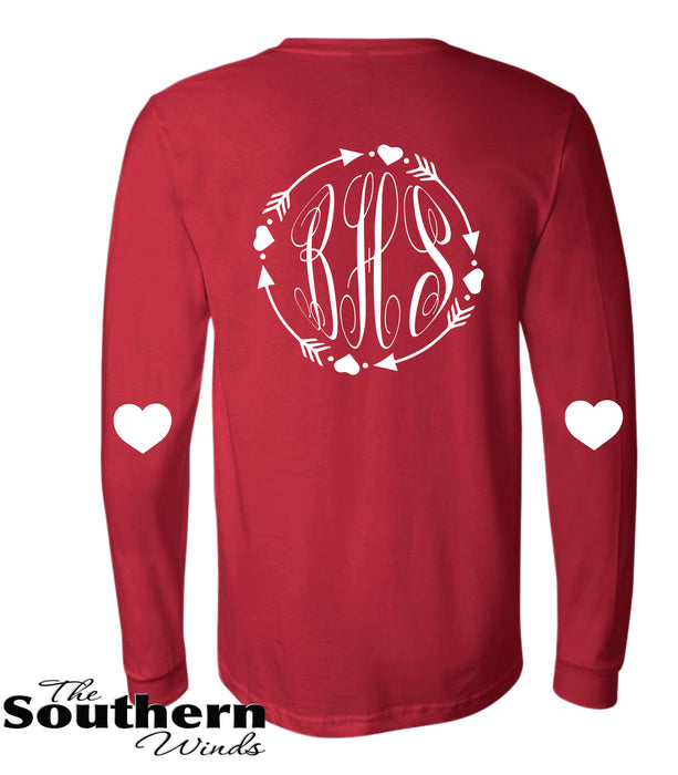 e7132a8969 Monogram Valentine's Day Heart Front and Back - Personalized Monogram -  Glitter - Original Print Shirt