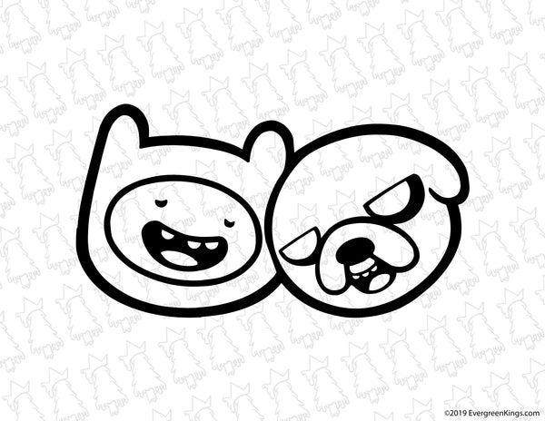 Finn and Jake Stoned Decal