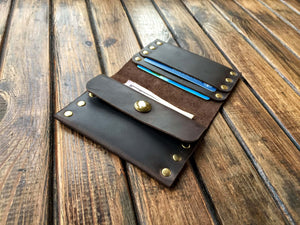 Leather Rivet Wallet (Brown) - Nebo Workshop