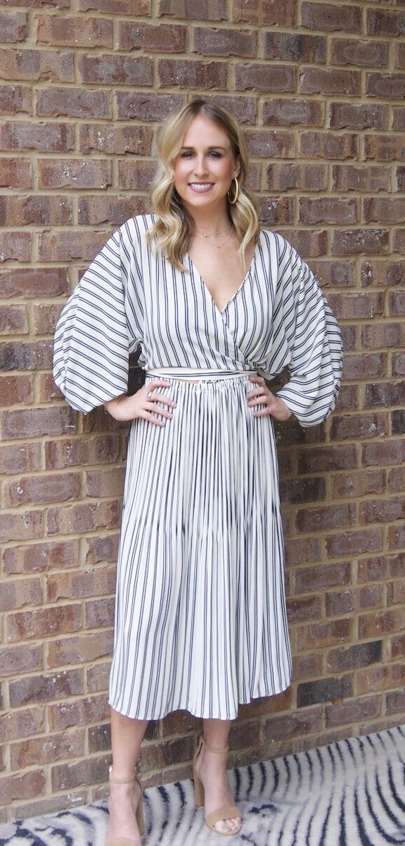 Current Air Striped Pleated Dress