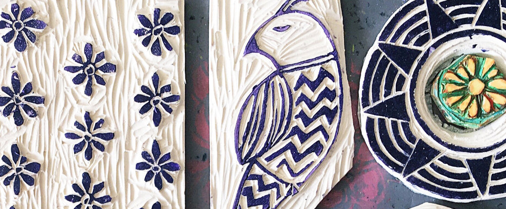 photo of hand carved print blocks