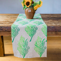 Linen Table Runner in Feather Ombré