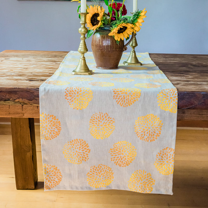 Linen Table Runner in Pom Pom Ombré