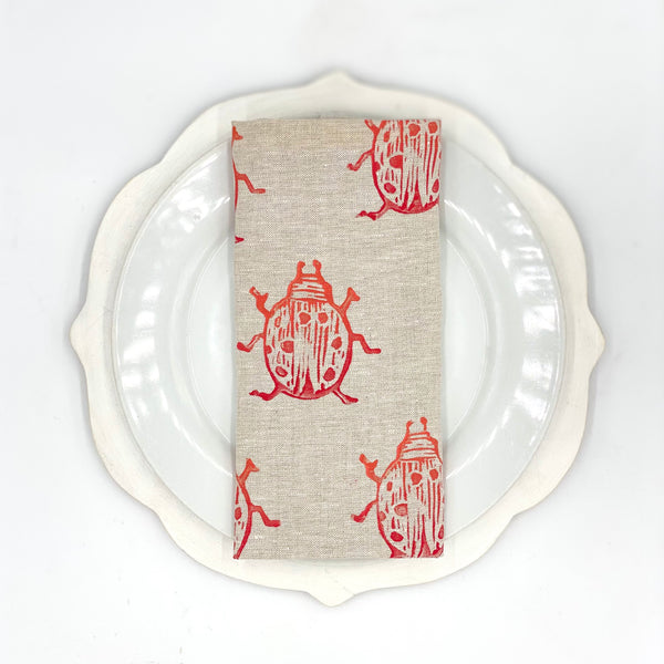 Beetle Linen Napkins in Cherry Bomb (Set of 4)