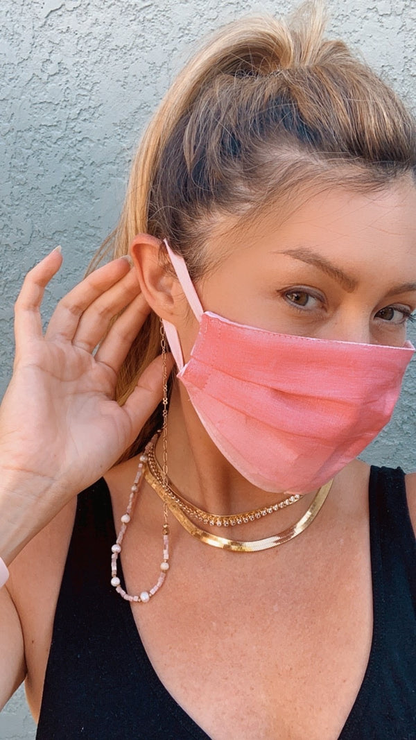 Fifty-Two Thursdays x Tulusa Collaboration Pink Ombré Mask & Pearls with Gold Chain