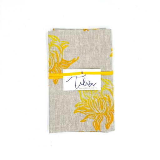 Linen Tea Towels in Lemon Fizz (10 patterns)