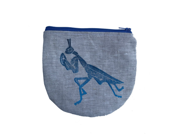 Animal Spirit Pouch with Praying Mantis in Blue Ombre'
