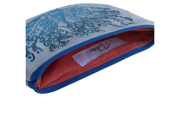 Coral Interior Lining of Peacock Pouch in Blue Tulusa