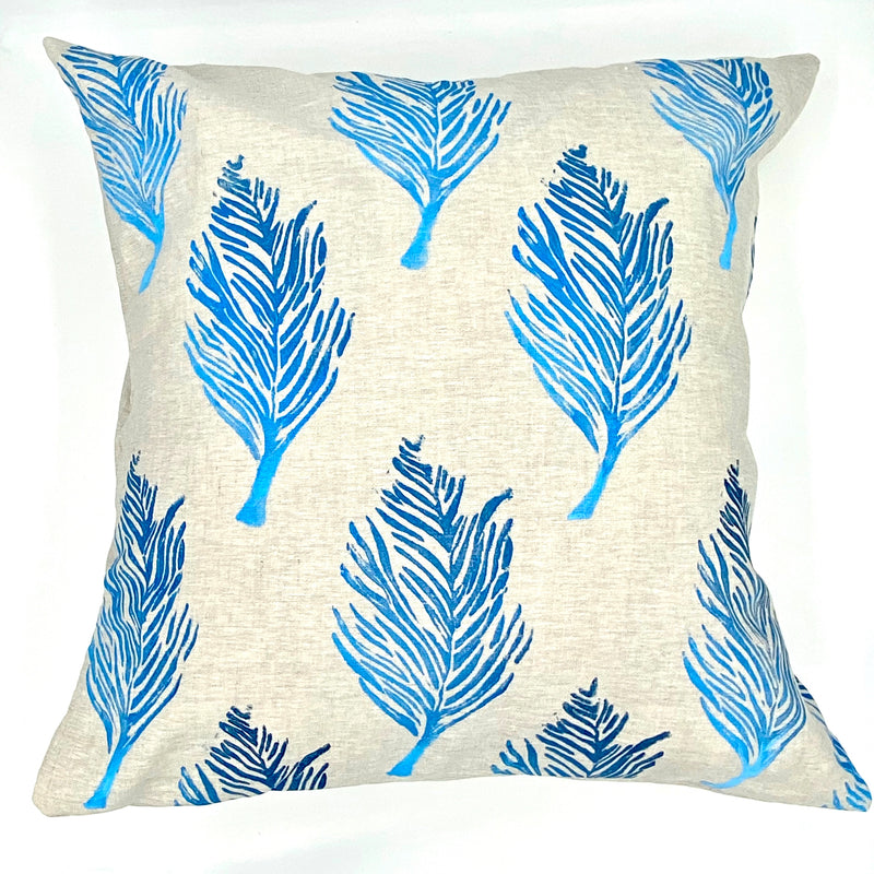 Block-Printed Linen Pillow in Feather Ombré