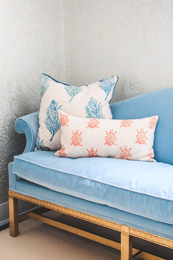 Feather Print Pillow in Peacock Blue Beetle Print Pillow in Coral|Tulusa