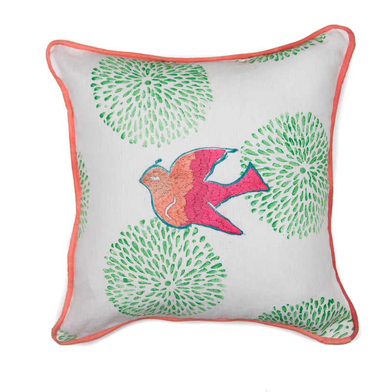 Embroidered Ombre Dove Throw Pillow in Coral over Green Mum print