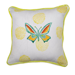 Embroidered Butterfly Throw Pillow in Orange over Sun Pom Poms