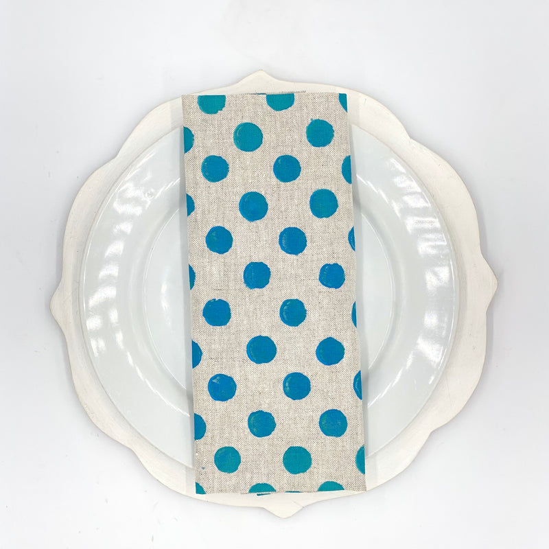 Polka Dot Linen Napkins in Huckleberry (Set of 4)