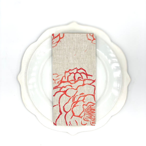 Peony Linen Napkins in Cherry Bomb (Set of 4)